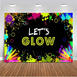Mehofoto Glow Neon Party Backdrop Let's Glow Splatter Photography Background 7x5ft Vinyl Glowing in The Dark Party Backdrops Banner Decoration
