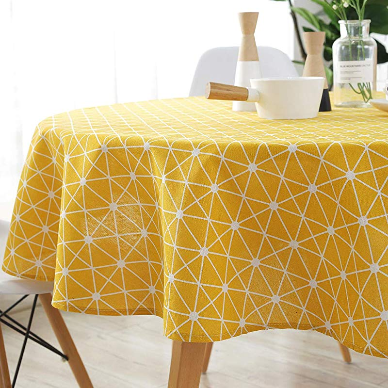 ColorBird Geometric Series Tablecloth Diamond Pattern Cotton Linen Dust Proof Table Cover For Kitchen Dinning Tabletop Linen Decor Round 60 Inch Yellow