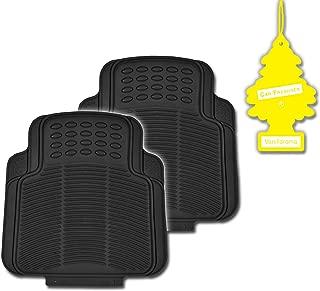 BDK Black 2 Piece All Weather Heavy Duty Durable Rubber Rear Only Mats + Vanilla