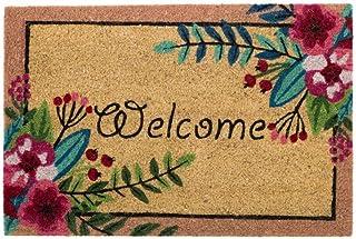 D'CASA Felpudo de Fibra de Coco de 60x40 Rosa Oriental Sol Naciente para la Entrada, Multicolor, 40 x 60 cm