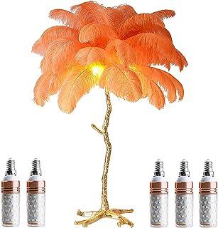 GQCTXHZ Lampadaire Plume, Lampadaire Vintage Nordique à Intensité Variable avec 5 Ampoules E14 et Interrupteur à Pied, Cor...