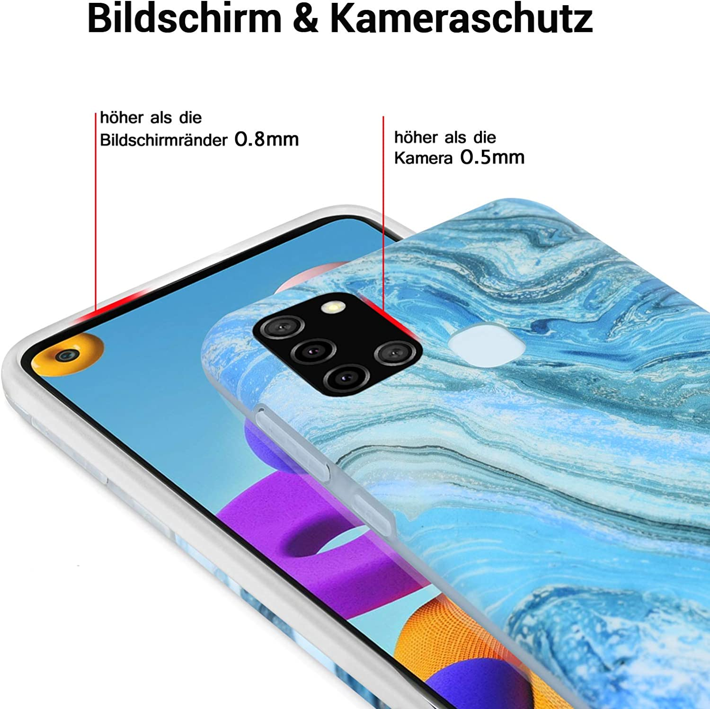 in silicone effetto marmo VoguSaNa sottile opaca morbida Custodia protettiva per Samsung Galaxy A21S colore: lilla//grigio