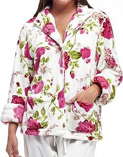 La Cera Women's Plus-Size Floral Microfleece Bed Jacket