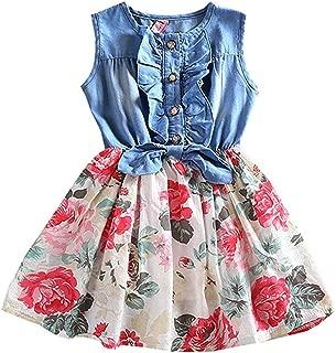 Áo quần dành cho bé gái – Little Girls Dresses Spring Summer Dress Denim Floral Swing Skirt with Belt Girls Fashion Tutu Dress