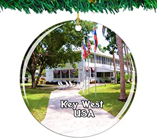 Weekino USA America Harry S. Truman Little White House Key West Christmas Ornament City Travel Souvenir Collection Double Sided Porcelain 2.85 Inch Hanging Tree Decoration