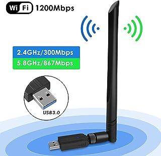 comprar comparacion penobon WiFi USB Adaptador, Antena WiFi USB Inalámbrico Dual Band 2.4G / 5.8G 802.11 AC WiFi Dongle con Antena de 5dBi Rec...