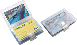 Porta carte di credito e tessere magnetiche 24 posti con bottone in PVC trasparente