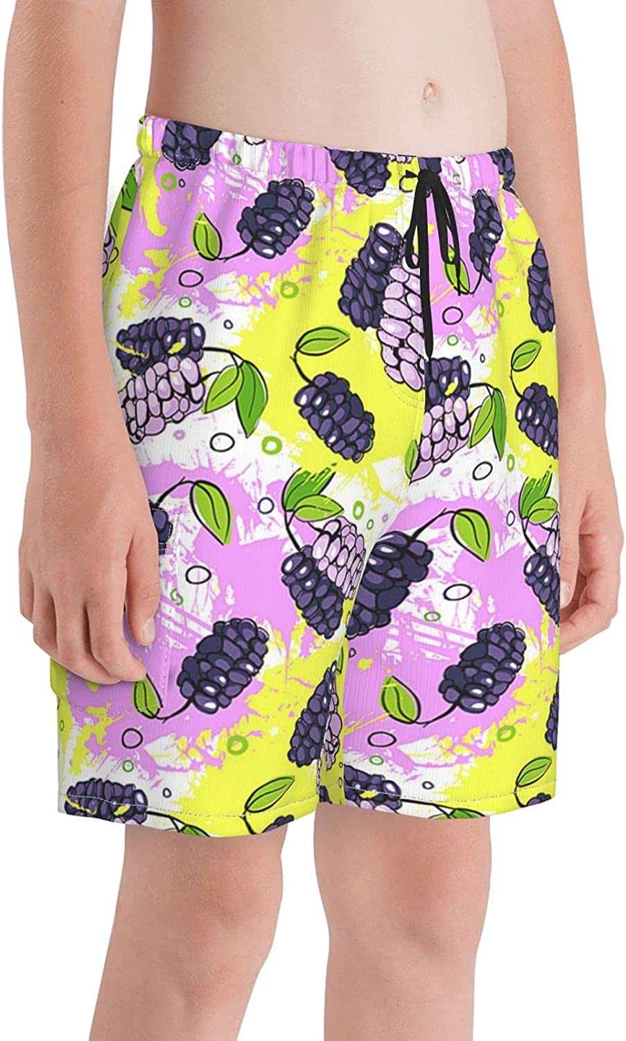 Summer Watermelon Dots Boys Teens Swim Trunks Quick Dry Surfing Board Shorts with Mesh Lining