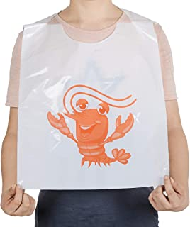 30 Pack 23 Inch Lobster Bibs Disposable Plastic Funny Crawfish Bibs, Adult Size