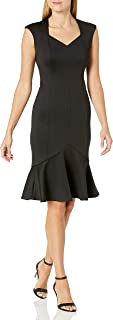 Women's Solid Sleeveless Sweetheart Neck Flounce Hem Dress