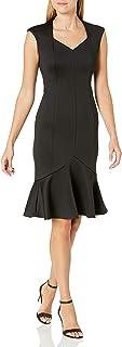 Calvin Klein Women's Solid Sleeveless Sweetheart Neck Flounce Hem Dress