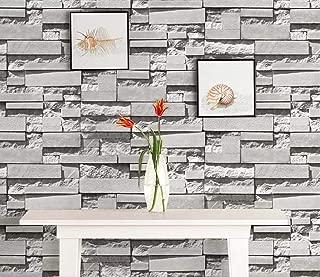 Yancorp Waterproof Self-Adhesive White Grey Brick Pattern Peel-Stick Wallpaper Brick Contact Paper Backsplash Sticker Shelf Liner Removable Door Vinyl Flooring 10ft Gray Wall Stickers