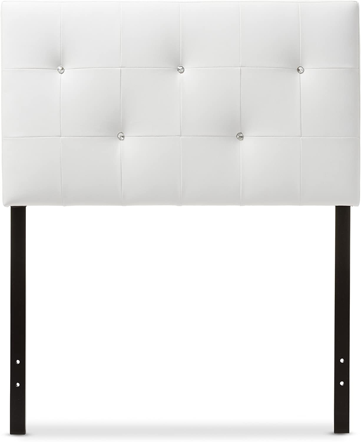 Baxton Studio Josette Modern & Contemporary White Faux Leather Upholstered Headboard, Twin