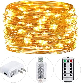 HSicily Fairy Lights Plug in, 8 Modes 33ft 100 LED USB String Lights with Adapter Remote Timer Waterproof Twinkle Lights for Christmas Thanksgiving Bedroom Patio Christmas Wedding Party Indoor Outdoor