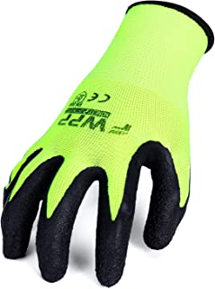 FWPP GL008003L12 Latex Coated Work Gloves Construction Gloves Pack of 12Pairs Large Fluorescence Yellow