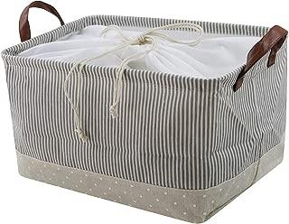 iwill CREATE PRO 100% Natural Cotton Storage Basket, Household Storage Organizer Bin with Drawstring, Baby Toys Storage Bins, Shelf Storage Cubes for Living Room Cabinet, Beige