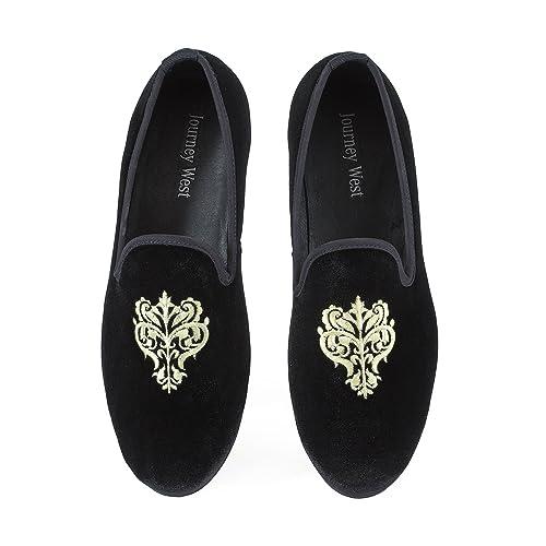 3ad15c40809 Journey West Men s Vintage Velvet Embroidery Noble Loafer Shoes Slip-on  Loafer Smoking Slipper Black
