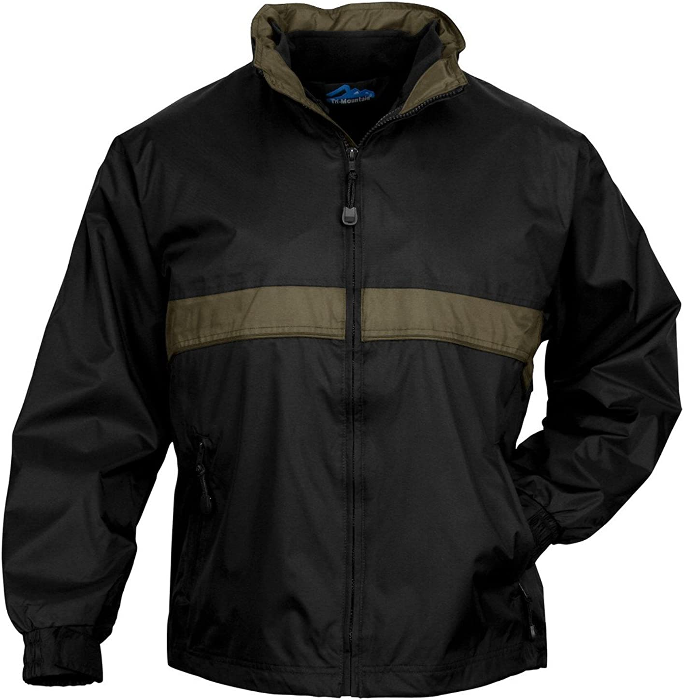 Tri-mountain Mens waterproof nylon 3-in-1 jacket. - BLACK / OLIVE - XXXX-Large