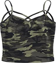 SweatyRocks Women's Spaghetti Strap Crop Top Criss Cross Camisole Tank Tops