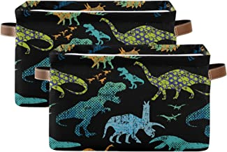 KEEPREAL Dinosaur Pattern Storage Basket Bin, Large Cube Storage Box Canvas Collapsible Storage Organizer for Home Office ...