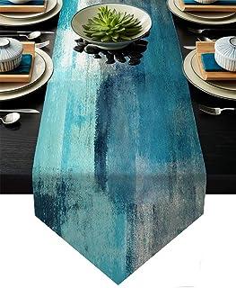 نقره ای فیروزه ای و خاکستری دونده ، Teal Abstract هنر مدرن رولپوش دونده میز برای کمد دونده سبک مزرعه برای مهمانی شام تعطیلات دکوراسیون خانه