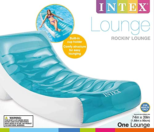 2021 Intex Inflatable Rockin Lounge Pool Floating Raft Chair with Cupholder (3 2021 new arrival Pack) sale