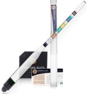 Brewer's Elite Hydrometer - for Home Brew Beer, Wine, Mead and Kombucha - Deluxe Triple Scale Set, Hardcase and Cloth - Sp...