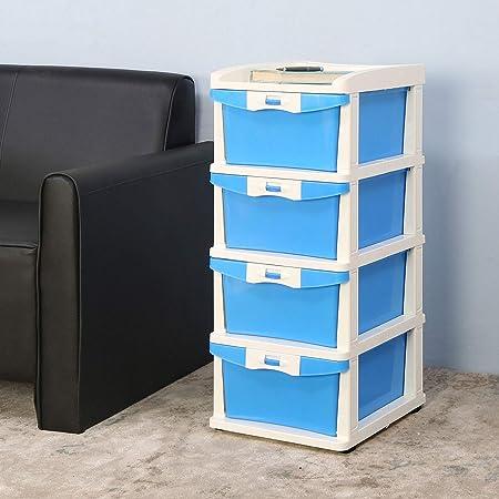 Nilkamal Chester 24 Series Plastic Four Drawer Cabinet (Blue and Cream)