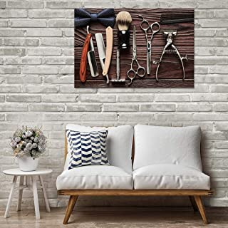 """Barber Tools Canvas Wall Art - Ready to Hang - Large Barbershop Accessories Decor Artwork - Hanging Print for Home Office, Living Room, Bedroom, Kitchen, Bathroom - Made in USA - 1 Piece 45"""" x 30"""""""