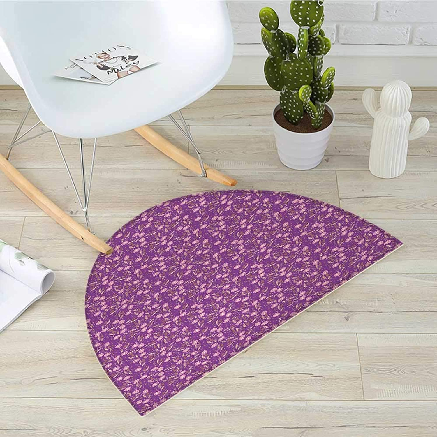 Floral Semicircular CushionFlourishing Nature with Blooming Petals and Leaves Romantic Design Entry Door Mat H 31.5  xD 47.2  Purple Pale Pink Marigold