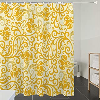 Shower Curtain Fabric Polyester Fabric,Waterproof, Machine Washable, Art Nouveau,Arabesque Rococo Style Curved Spring Blooms Branches Leaves Boho,Pale, Bathroom Decor Set with Hooks, 70