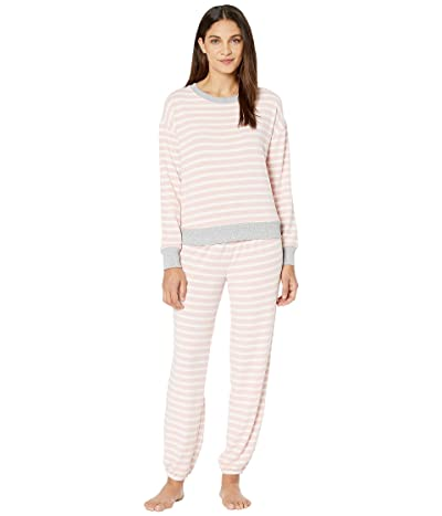 Splendid Brushed Jersey Long Sleeve PJ Set (Blush Weekend Stripes) Women