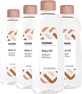 Amazon Brand - Solimo Baby Oil, with Shea Butter, 14 Fluid Ounce (Pack of 4)