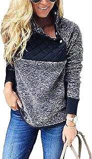 Womens Plus Fleece Pullover Sweatshirt Long Sleeve Coats Cute Jackets Oblique Button Geometric Pattern Outwear Tops