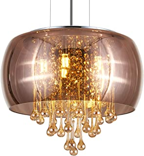 YLONG-ZS Flush Mount Golden Clear Crystal Chandelier Lighting Finishing Bronze Color Glass Big Dome Chandeliers Ceiling Light Fixture 5 G9 Bulbs Pendant Light in Bedroom, Hall or Dining Room