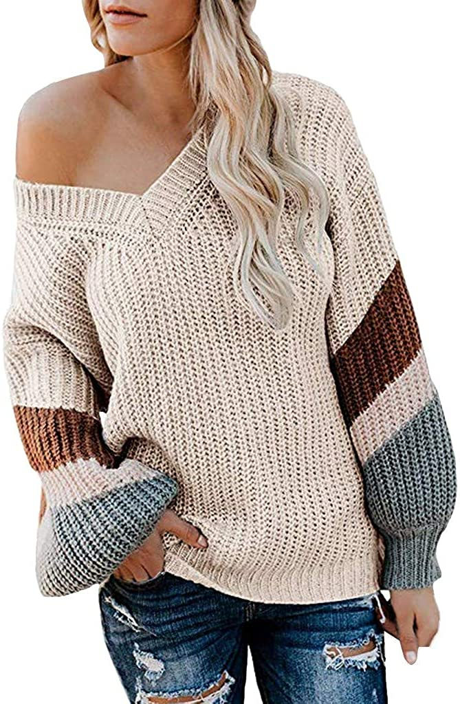 Xinantime Women's Ripped Sweater Color Block Knitted Chunky Sweatshirt V Neck Pullover Oversized Tops Lantern Sleeve Blouse