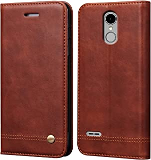 LG K10 2018 Case, LG K30 Case,LG K10 Alpha Sturdy Case,RUIHUI Luxury Leather Wallet Folding Flip Protective Shock Resistant Case Cover with Card Slots,Kickstand and Magnetic Closure (Brown)