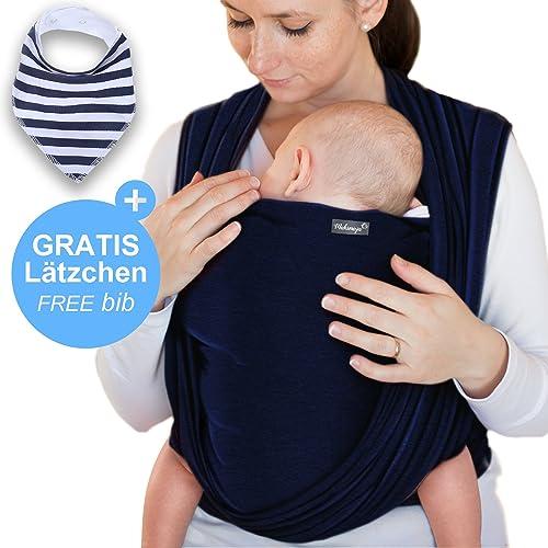 Écharpe de portage bleu marine - porte-bébé de haute qualité pour nouveau-nés et bébés jusqu'à 15 kg - en coton doux - incl. sac de rangement et bavoir bébé OFFERTS - design adorable de Makimaja®