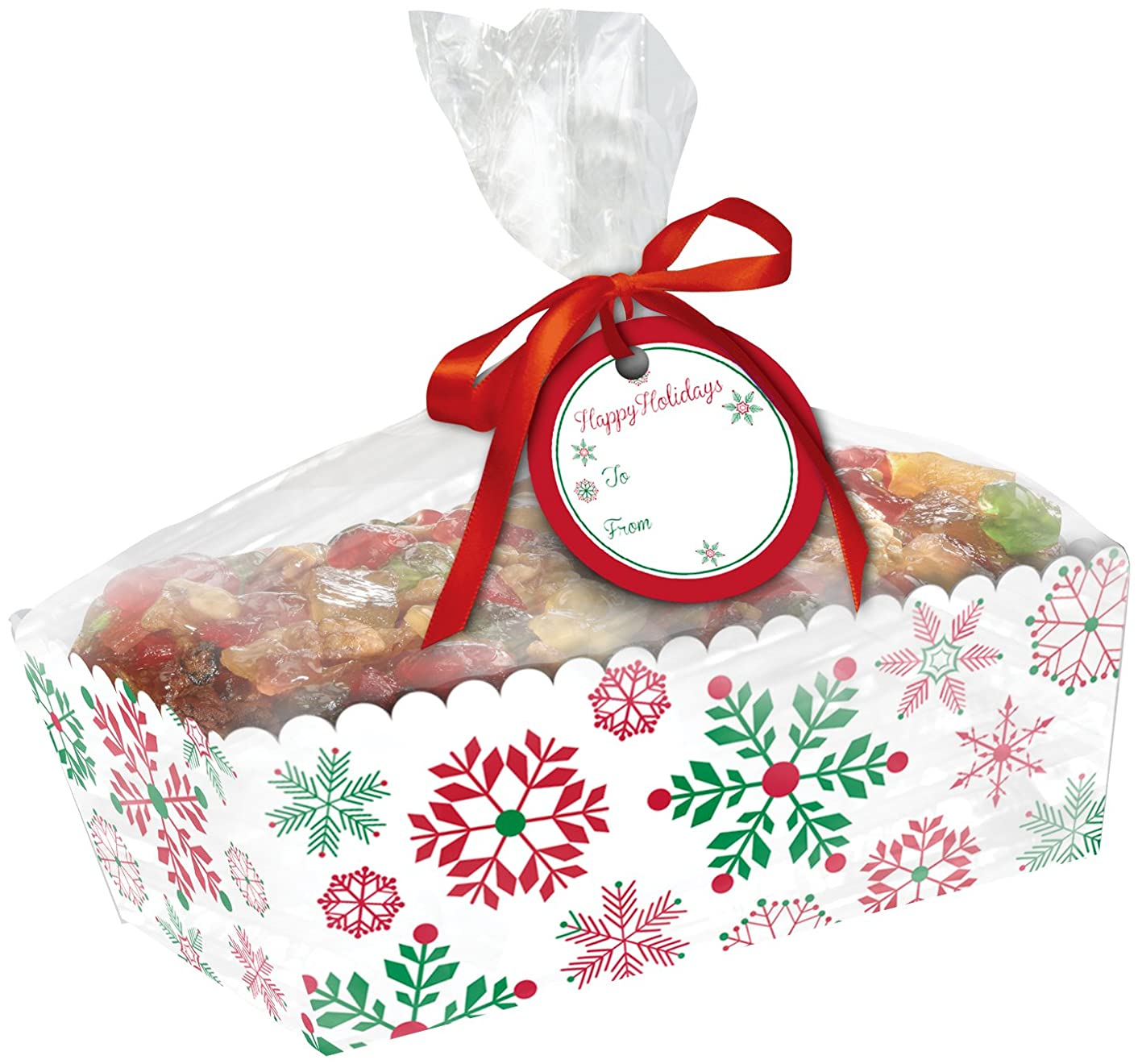 Creative Converting 2 Count Paper Loaf Pans with Cello Wrap, Snowflakes, Clear