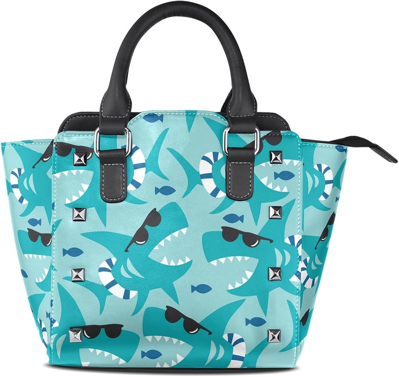 My Little Nest Women's Top Handle Satchel Handbag Sharks with Sunglasses Ladies PU Leather Shoulder Bag Crossbody Bag