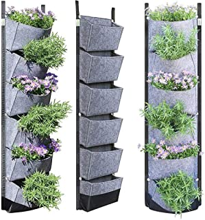 6 Pockets Vertical Wall Hanging Planters Breathable Grow Container Flowerpot Bags for Garden Green Field(