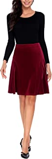 A-line Pleated High Waist Velvet Midi Skirt Vintage Flare Skirts for Women