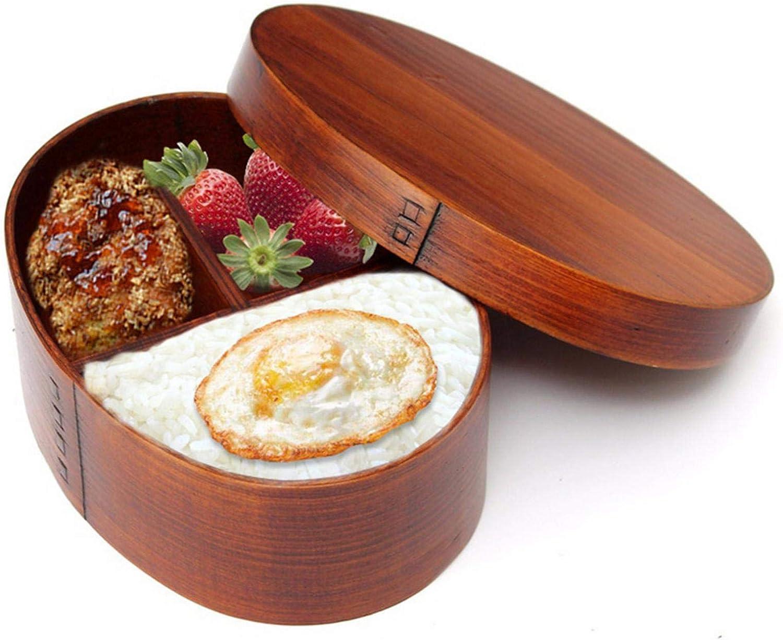 luukiy Caja Bento Japonesa Fiambrera de Madera Ovalada Sushi Contenedor de Comida portátil con Correas Fiambreras Bento Tradicionales de Madera Natural Comida Fruta Sándwich Contenedor Caja de sush