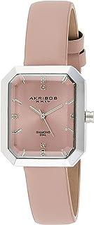 Akribos XXIV Women's Diamond Dial Leather Band Watch
