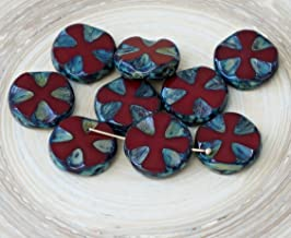 6pcs Rustic Picasso Opaque Bordeaux Coral Red Czech Glass Flat Carved Table Cut Cross Flower Beads Coin Halloween 14mm