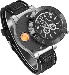 CkeyiN Novelty Sport Wristwatch Quartz Watches Collectable Butane Cigar Cigarette Lighter with USB Electronic Rechargeable Windproof Flameless Electric Gift - Black