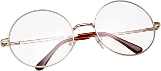 grinderPUNCH - Non-Prescription Round Circle Frame Clear Lens Glasses Medium Gold