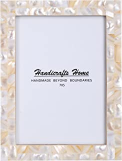 New Real Handmade Black White Bone Photo Picture Vintage Imported Chic Frame Made to Display 4x6 5x7 Pictures (5x7, Pearl)