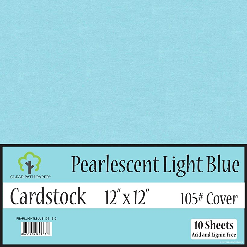 Pearl Shimmer Metallic Light Blue Cardstock - 12 x 12 inch - 105Lb Cover - 10 Sheets