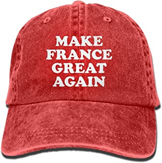 PINE-TREE-CAP Make France Great Again Mom Hat Baseball Cap Trucker Cap Washed Denim Cotton Adjustable Red